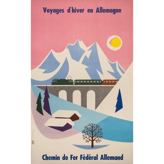 Affiche ancienne de voyage - Strom - 1960 - Voyage d'hiver en Allemagne - 100 par 63 cm