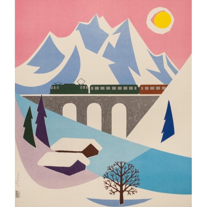 Affiche ancienne de voyage - Strom - 1960 - Voyage d'hiver en Allemagne - 100 par 63 cm - Vue 3