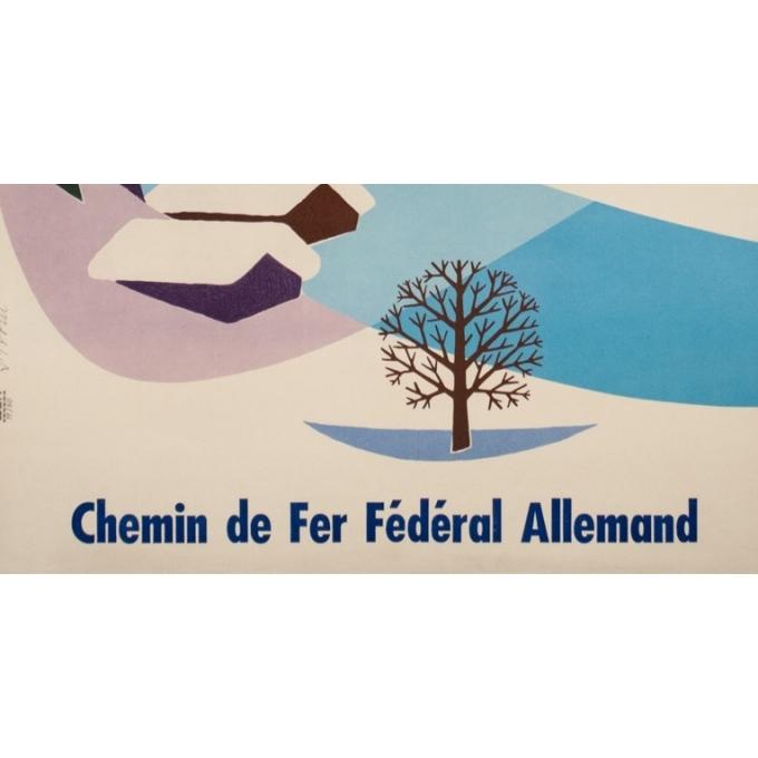 Affiche ancienne de voyage - Strom - 1960 - Voyage d'hiver en Allemagne - 100 par 63 cm - Vue 4