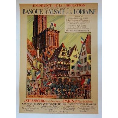 Emprunt de la libération Alsace Lorraine hansi - Affiche ancienne Elbé Paris