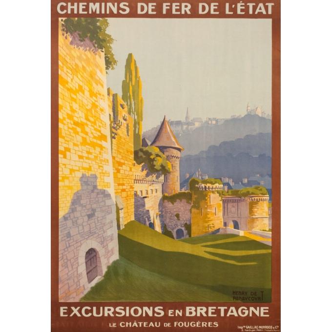 Affiche ancienne de voyage - Henry de Renocourt  - 1920 - Bretagne château de Fougères - 105 par 73.5 cm