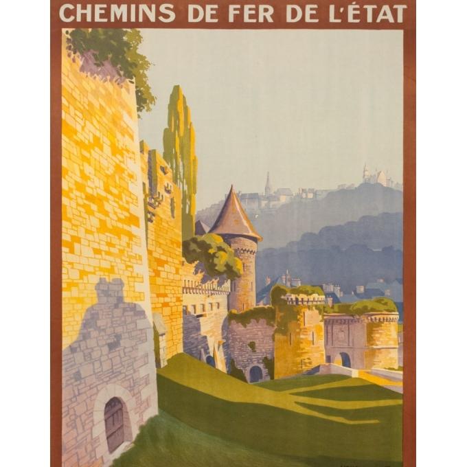 Affiche ancienne de voyage - Henry de Renocourt  - 1920 - Bretagne château de Fougères - 105 par 73.5 cm - Vue 2