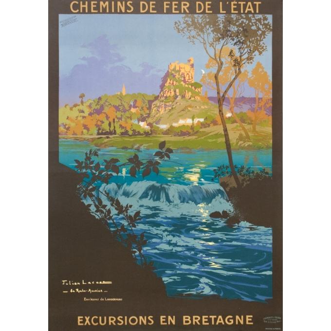 Affiche ancienne de voyage - Julien Lacaze - 1910 - Excursion en Bretagne - 104.5 par 74.5 cm
