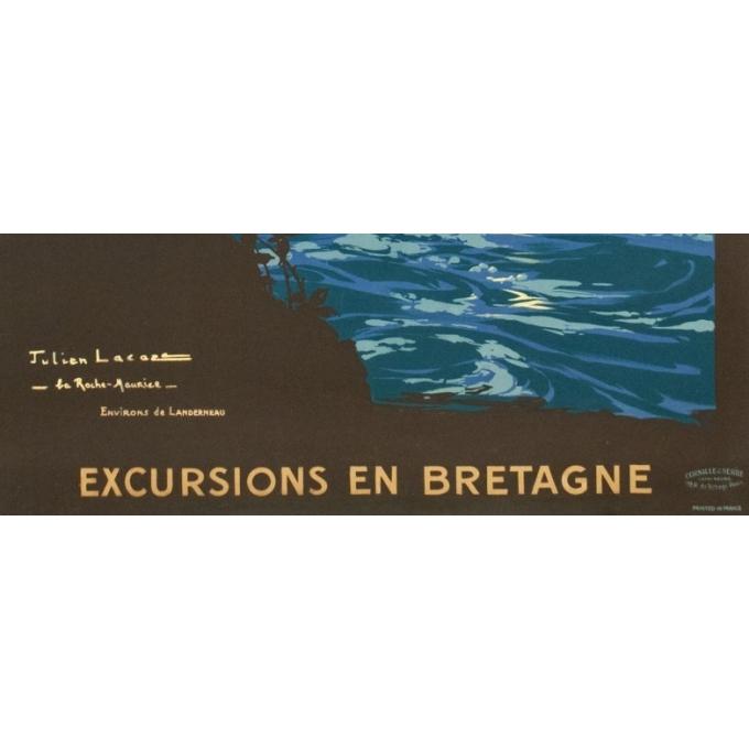 Affiche ancienne de voyage - Julien Lacaze - 1910 - Excursion en Bretagne - 104.5 par 74.5 cm - Vue 3