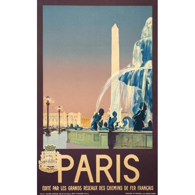 Affiche ancienne de voyage - Julien Lacaze - 1935- Paris - 100 par 62.5 cm