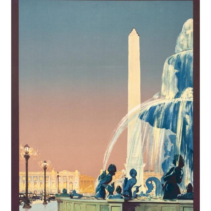 Affiche ancienne de voyage - Julien Lacaze - 1935- Paris - 100 par 62.5 cm - Vue 2