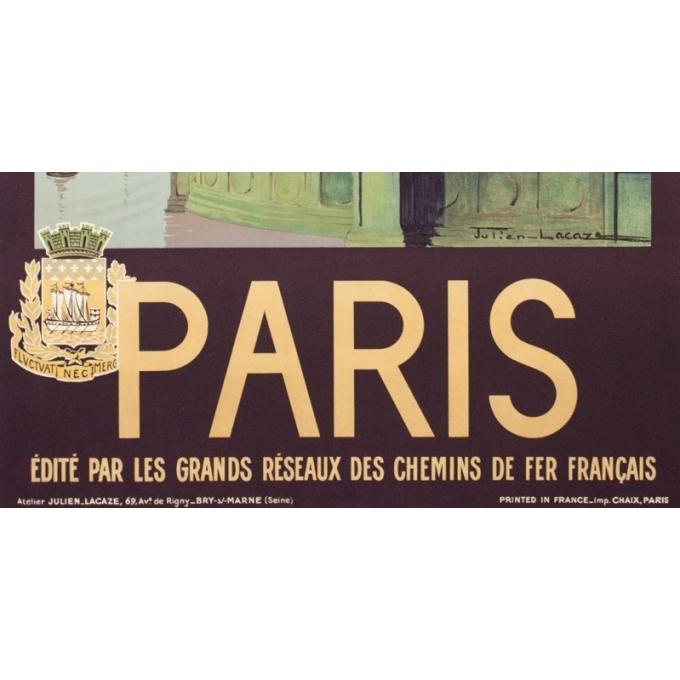 Affiche ancienne de voyage - Julien Lacaze - 1935- Paris - 100 par 62.5 cm - Vue 3