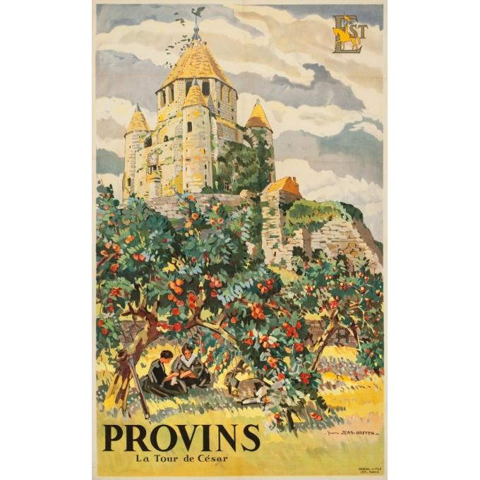 Affiche ancienne de voyage - Yvon Jean Haffen - 1920- Provins- La Tour de Cézar - 100 par 62 cm