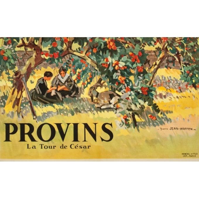 Vintage travel poster - Yvon Jean Haffen - 1920 - Provins La Tour de Cézar France - 39.4 by 24.4 inches - View 3