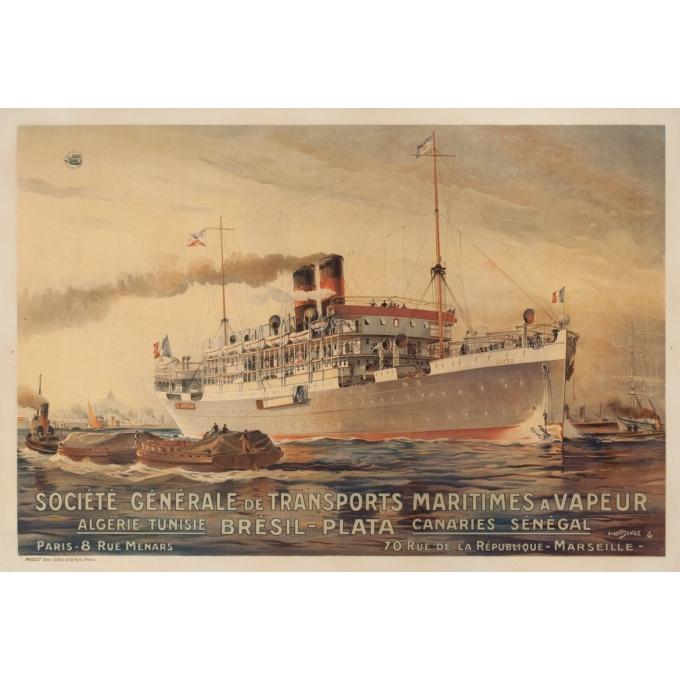 Affiche ancienne de voyage - Albert Sebille - 1925 - Société générale de transports maritimes à vapeur - 105 par 71.5 cm