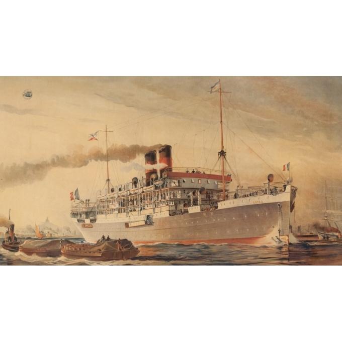 Affiche ancienne de voyage - Albert Sebille - 1925 - Société générale de transports maritimes à vapeur - 105 par 71.5 cm - Vue 2