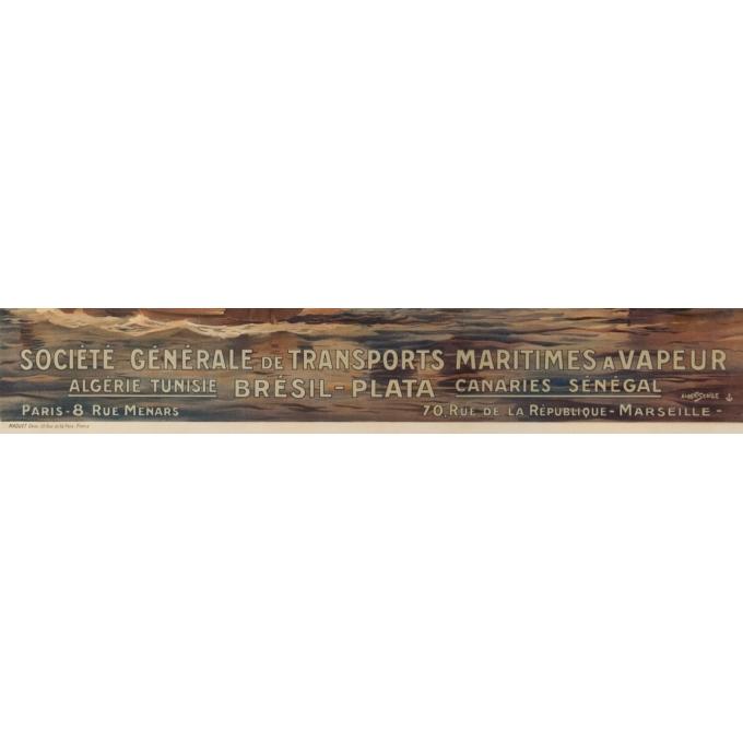 Affiche ancienne de voyage - Albert Sebille - 1925 - Société générale de transports maritimes à vapeur - 105 par 71.5 cm - Vue 3