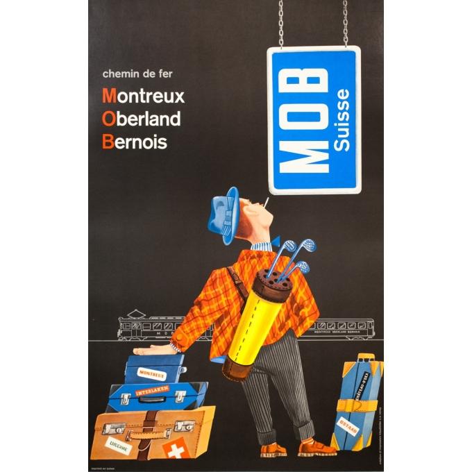 Affiche ancienne de voyage - anonyme  - 1950 - Montreux-oberland-bernois-Suisse - 101.5 par 64 cm