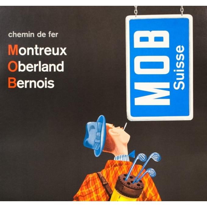 Affiche ancienne de voyage - anonyme  - 1950 - Montreux-oberland-bernois-Suisse - 101.5 par 64 cm - Vue 2
