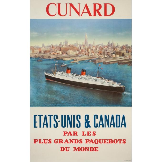 Affiche ancienne de voyage - anonyme - 1950- Cunard Etats-Unis Canada - 120 par 63.5 cm