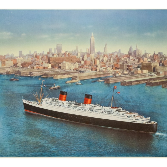 Affiche ancienne de voyage - anonyme - 1950- Cunard Etats-Unis Canada - 120 par 63.5 cm - vue 3