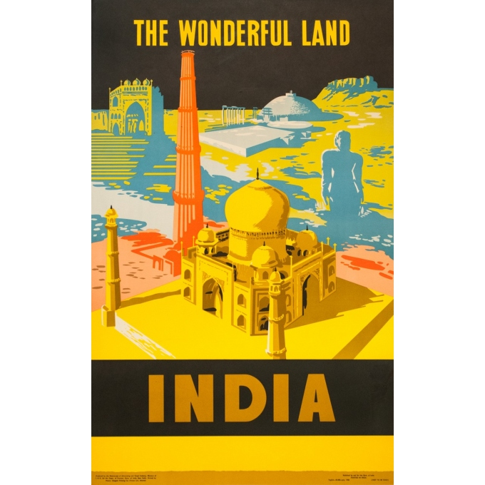 Vintage travel poster - anonyme - 1958 - The wondurfull land - India - 64 by 39.2 inches