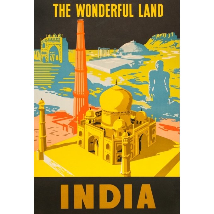 Vintage travel poster - anonyme - 1958 - The wondurfull land - India - 64 by 39.2 inches - View 2