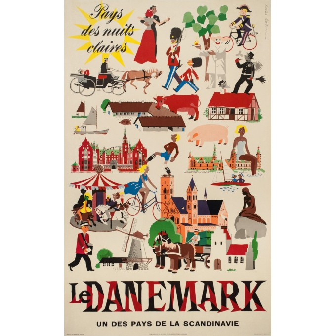 Vintage travel poster - Laus laum - 1952 - Danemark pays des nuits claires - 39.4 by 24.6 inches