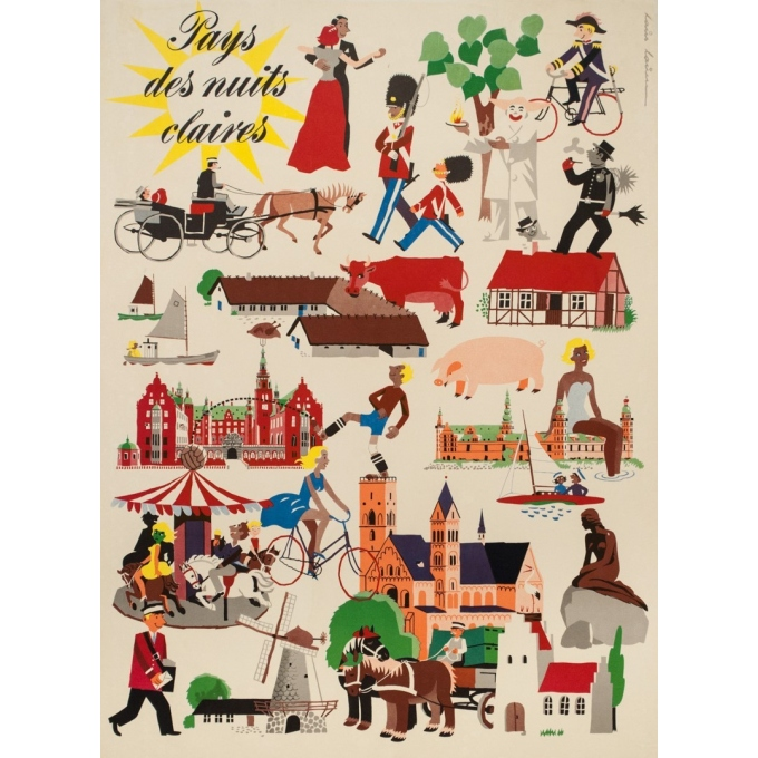 Vintage travel poster - Laus laum - 1952 - Danemark pays des nuits claires - 39.4 by 24.6 inches - View 2