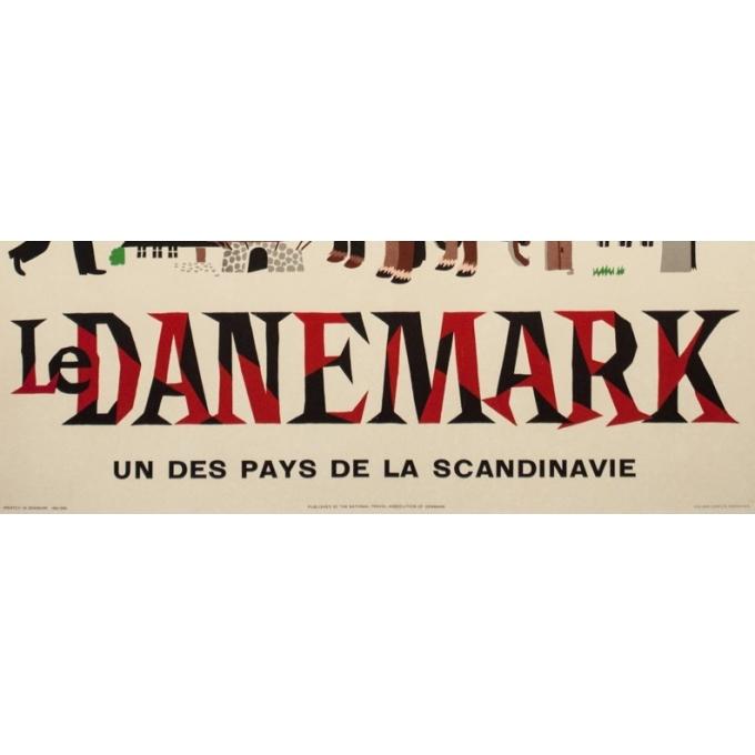 Affiche ancienne de voyage - Laus laum - 1952 - Danemark-pays des nuits claires - 100 par 62.5 cm - vue 3