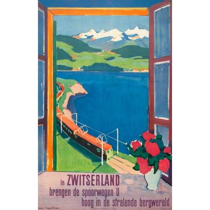 Affiche ancienne de voyage - Hans jegerlehner - 1950- Switzerland-Suisse-Bergwald - 99.5 par 64 cm