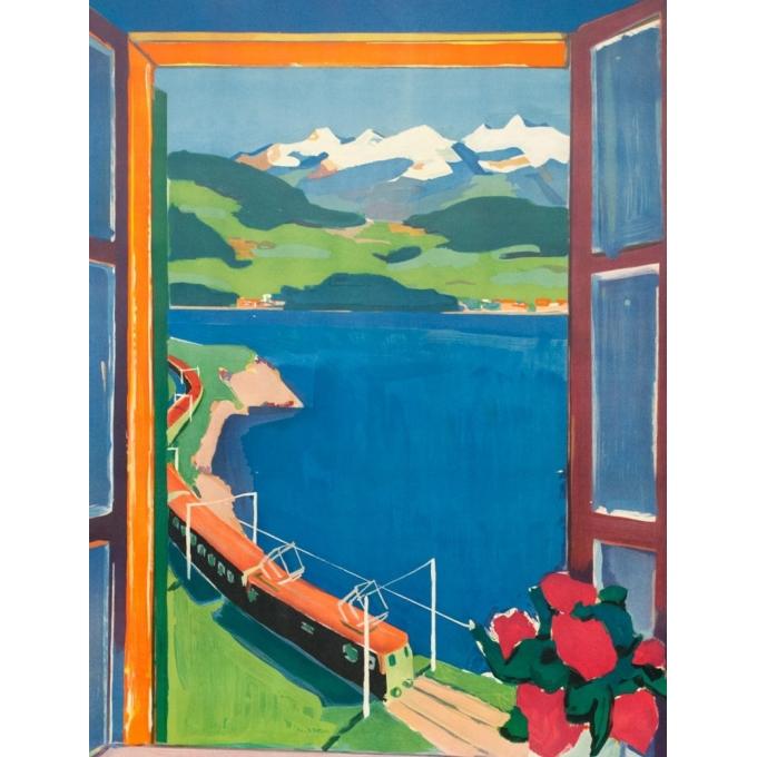 Affiche ancienne de voyage - Hans jegerlehner - 1950- Switzerland-Suisse-Bergwald - 99.5 par 64 cm - Vue 2