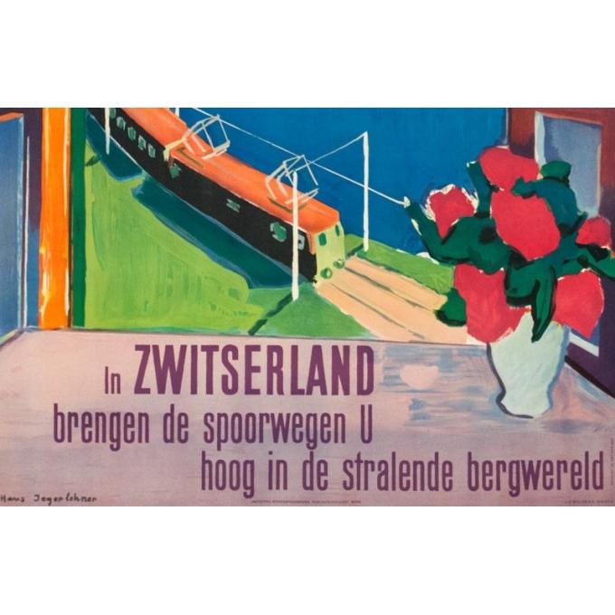 Affiche ancienne de voyage - Hans jegerlehner - 1950- Switzerland-Suisse-Bergwald - 99.5 par 64 cm - Vue 3