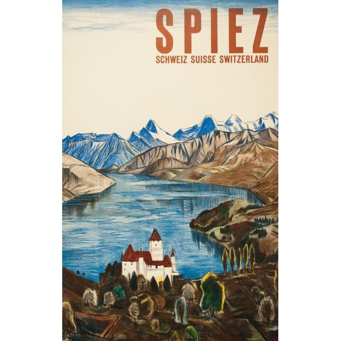 Affiche ancienne de voyage - anonyme - 1950 - Spiez-Suisse- - 101.5 par 64.5 cm
