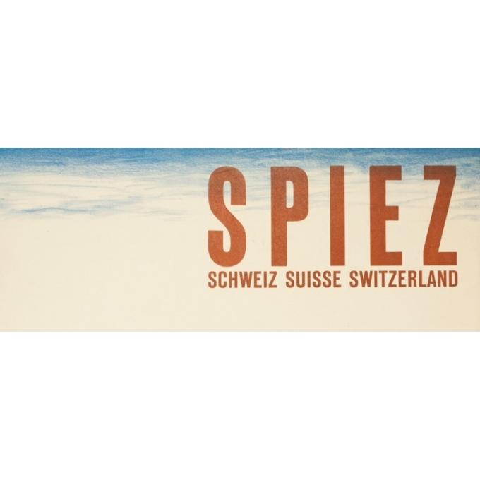 Affiche ancienne de voyage - anonyme - 1950 - Spiez-Suisse- - 101.5 par 64.5 cm - Vue 2
