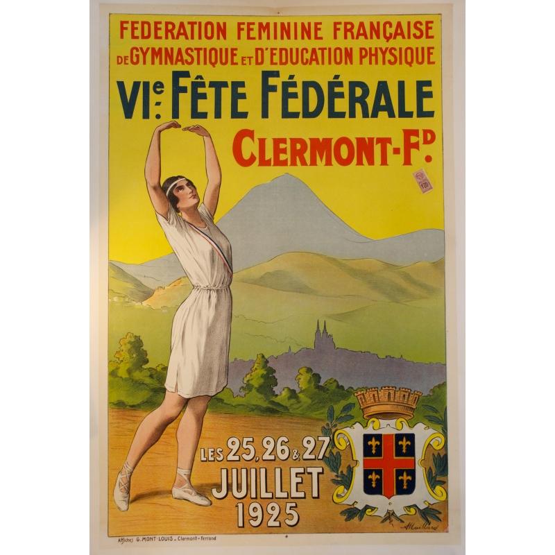 French gymnastics federation Clemront-Ferrand 1925 poster