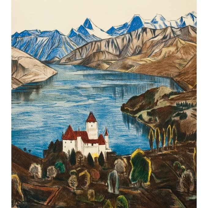 Affiche ancienne de voyage - anonyme - 1950 - Spiez-Suisse- - 101.5 par 64.5 cm - Vue 3