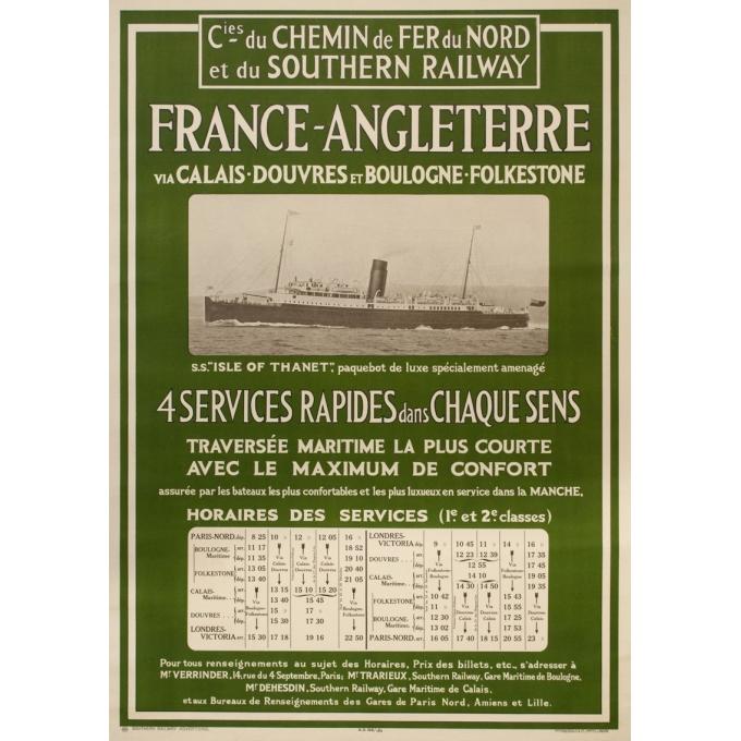 Affiche ancienne de voyage - Mc Corquodale - 1926 - France Angleterre via Calaix douvre - 105 par 75 cm
