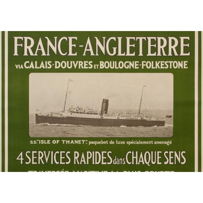 Affiche ancienne de voyage - Mc Corquodale - 1926 - France Angleterre via Calaix douvre - 105 par 75 cm - vue 2
