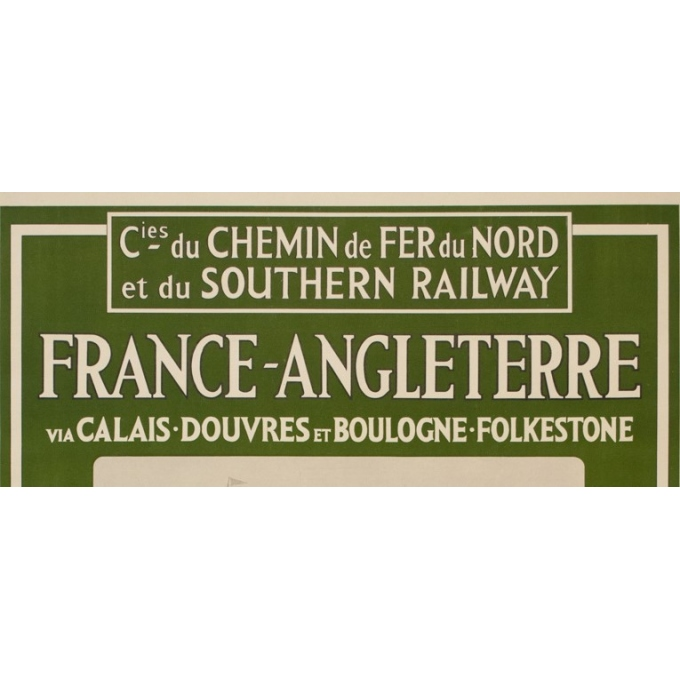 Affiche ancienne de voyage - Mc Corquodale - 1926 - France Angleterre via Calaix douvre - 105 par 75 cm - vue 3