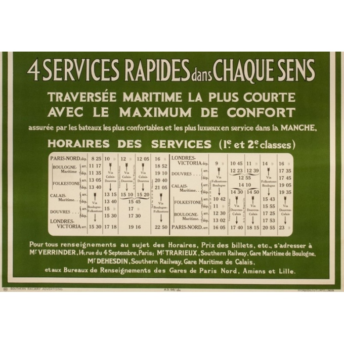 Affiche ancienne de voyage - Mc Corquodale - 1926 - France Angleterre via Calaix douvre - 105 par 75 cm - vue 4