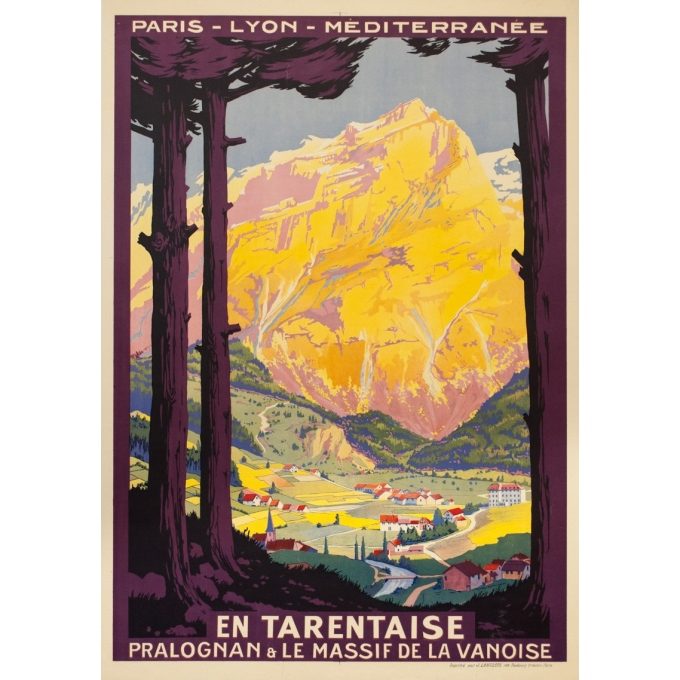 Affiche ancienne de voyage - Roger Soubie - 1925 -  PLM En Tarentaise - 109 par 76 cm
