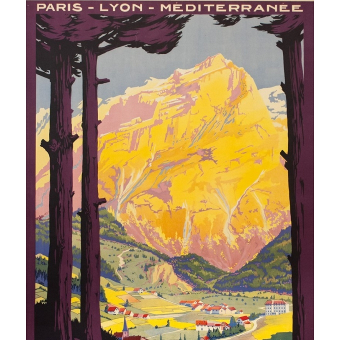 Vintage travel poster - Roger Soubie - 1925 - PLM - En Tarentaise France - 42.9 by 29.9 inches - View 2