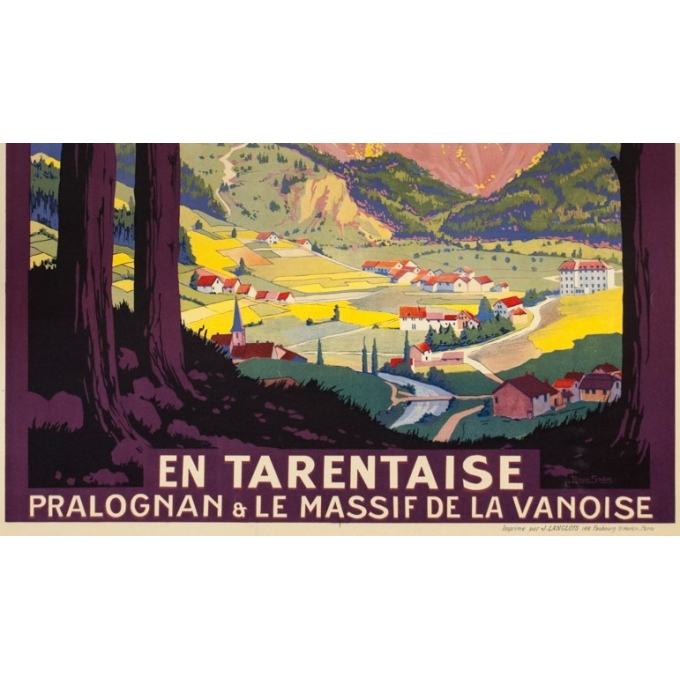 Vintage travel poster - Roger Soubie - 1925 - PLM - En Tarentaise France - 42.9 by 29.9 inches - View 3