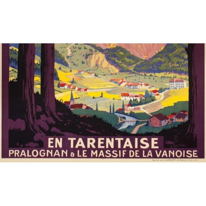 Affiche ancienne de voyage - Roger Soubie - 1925 -  PLM En Tarentaise - 109 par 76 cm - Vue 3