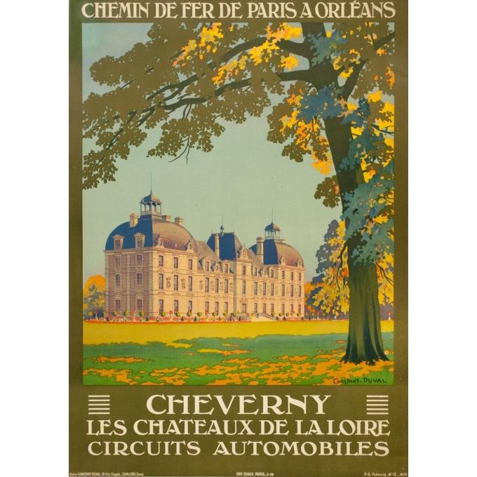 Affiche ancienne de voyage - Constant Duval - 1926- Cheverny-Château de la Loire  - 103.5 par 74 cm