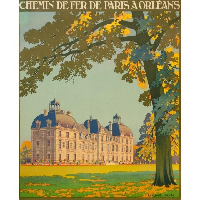 Affiche ancienne de voyage - Constant Duval - 1926- Cheverny-Château de la Loire  - 103.5 par 74 cm - Vue 2