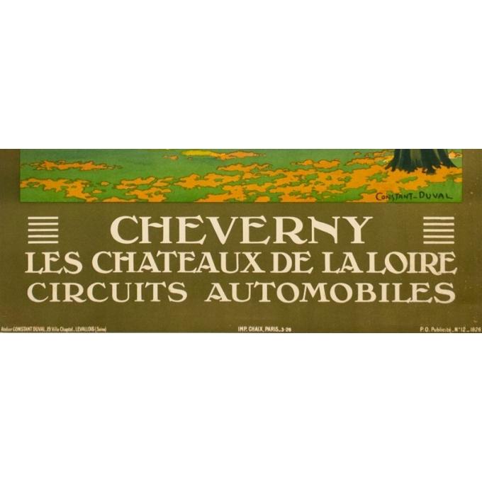 Affiche ancienne de voyage - Constant Duval - 1926- Cheverny-Château de la Loire  - 103.5 par 74 cm - Vue 3