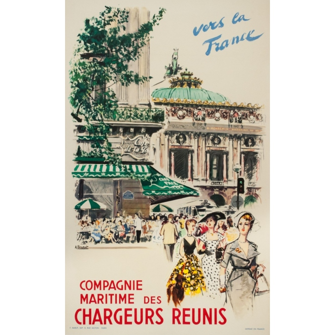 Vintage travel poster - Albert Brenet - 1950 - Vers la France- compagnie maritimes des chargeurs réunis - 39.4 by 24.4 inches