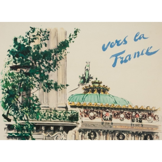 Vintage travel poster - Albert Brenet - 1950 - Vers la France- compagnie maritimes des chargeurs réunis -39.4 by 24.4 inches - 2