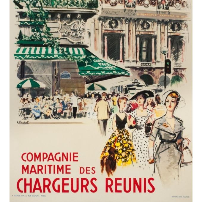Vintage travel poster - Albert Brenet - 1950 - Vers la France- compagnie maritimes des chargeurs réunis -39.4 by 24.4 inches - 3