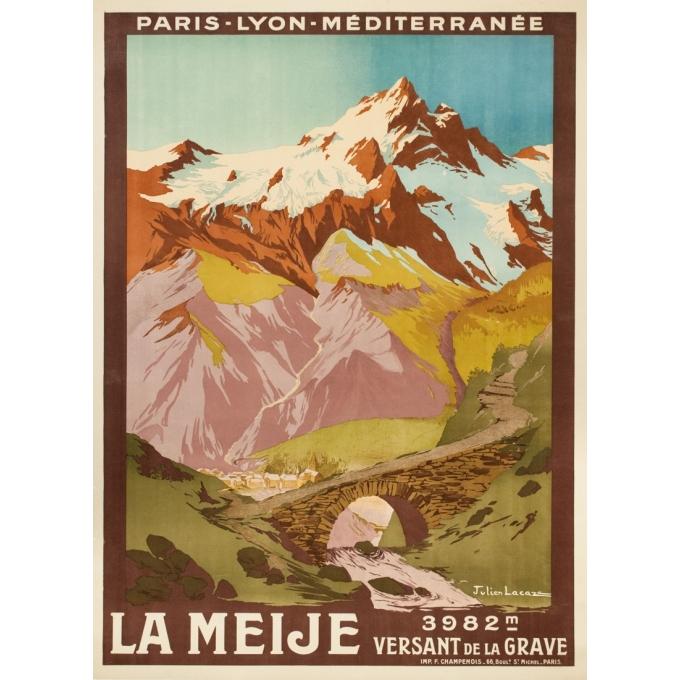 Affiche ancienne de voyage - Julien Lacaze  - 1910 - La Meije- Versant de la Grave - 107 par 78 cm