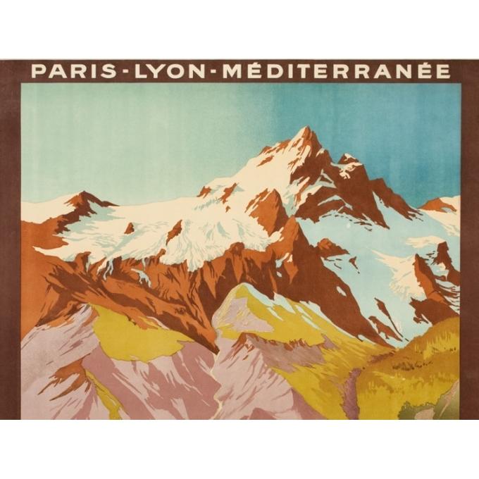 Affiche ancienne de voyage - Julien Lacaze  - 1910 - La Meije- Versant de la Grave - 107 par 78 cm - Vue 2
