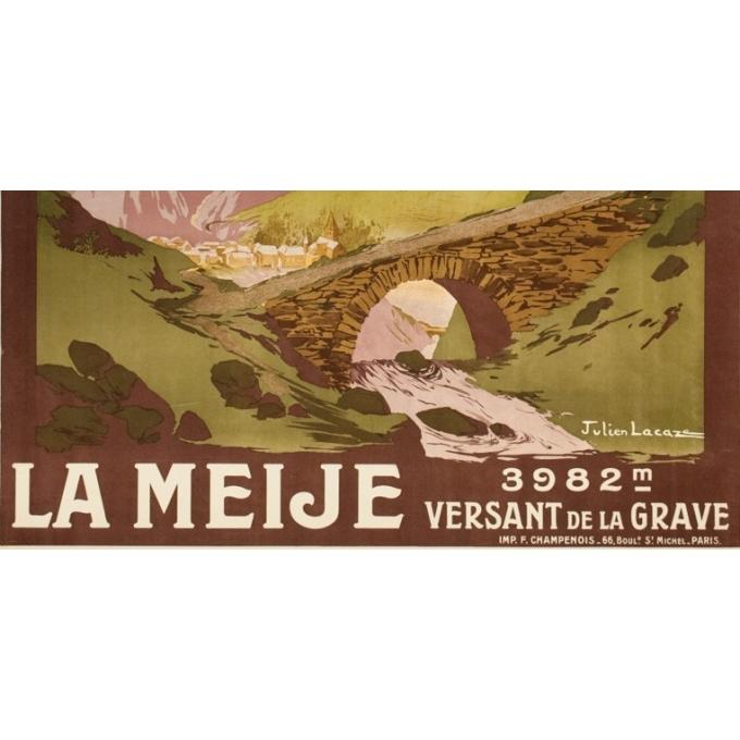 Affiche ancienne de voyage - Julien Lacaze  - 1910 - La Meije- Versant de la Grave - 107 par 78 cm - Vue 3