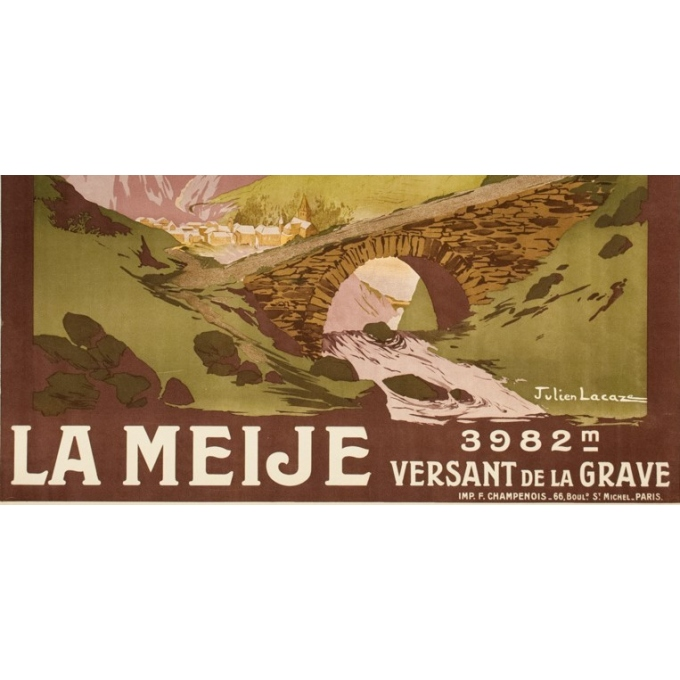 Vintage travel poster - Julien Lacaze  - 1910 - La Meije- Versant de la Grave - 42.1 by 30.7 inches - View 3